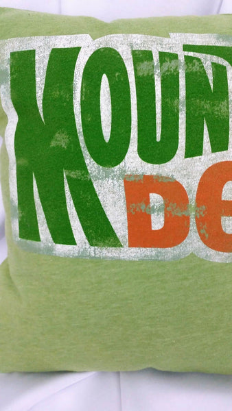 Mountain Dew t-shirt made into a decorative pillow cover. No Capes Store