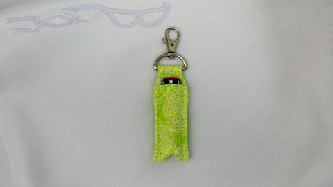 Lime Green Flowers Swivel Clip Lip Balm Holder
