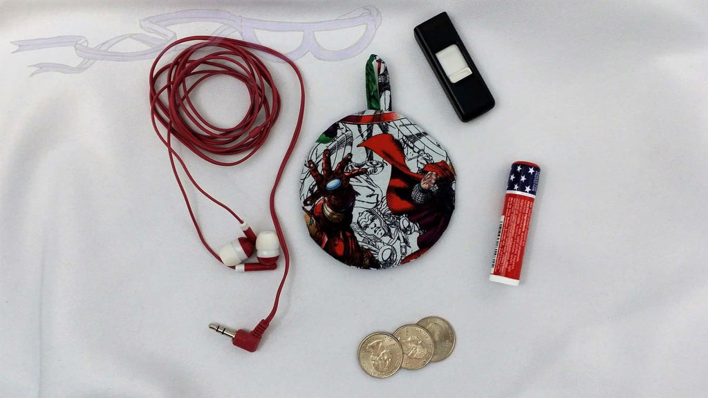 Ear bud holder made with Marvel Avengers fabric. Marvel cotton made into an ear bud pocket, lip balm case, usb holder, ear bud pouch.