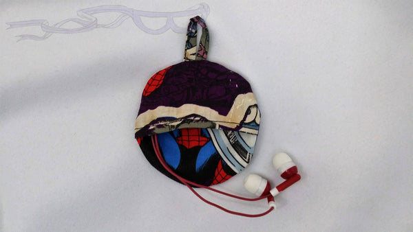 Ear bud holder made with Spider-man fabric.