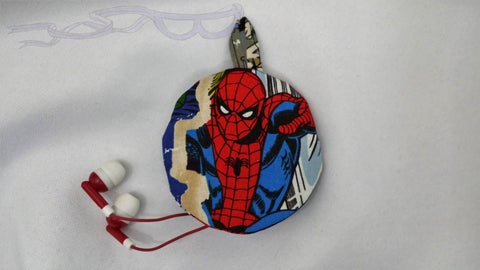 Ear bud holder made with Spider-man fabric. Marvel cotton made into an ear bud pocket, lip balm case, usb holder, ear bud pouch.