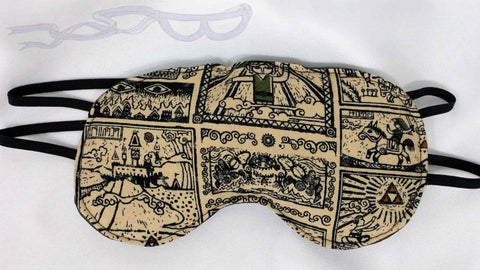 Legend of Zelda Scrolls fabric made into a Luxurious Sleep Mask