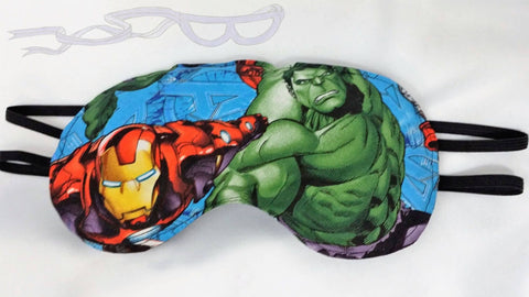 Iron Man and the Hulk will protect your dreams! Marvel superheroes are featured on this eye mask.