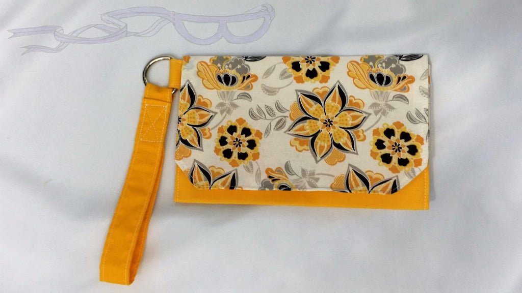 Yellow flowers wristlet. Pouch handbag, Cell phone wristlet, Women's small purse. Handmade yellow flowers bag. No Capes Store