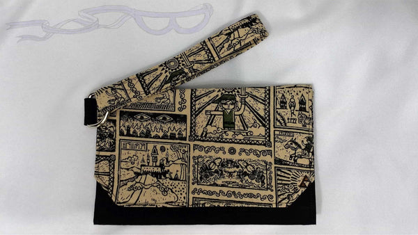 This video game purse features the Wind Waker scrolls with black accent panels made from a premium solid cotton.