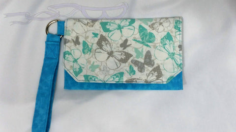 Blue & Silver Butterflies wristlet. Pouch purse, cell phone bag, women's small handbag. Handmade butterfly purse. No Capes Store