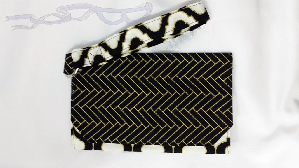 Art deco gold and black wristlet, art deco purse, cellphone wrist bag, handmade handbag, geometric pouch. No Capes Store