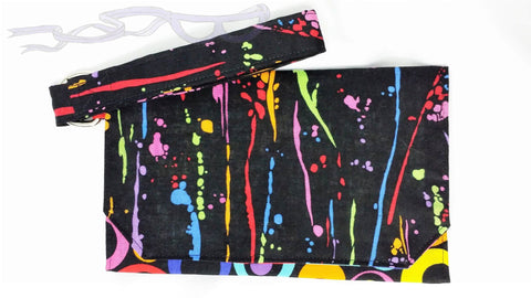 Paint splatter wristlet, artists purse, Pouch wrist bag, handmade artists handbag, mod style pouch. No Capes Store