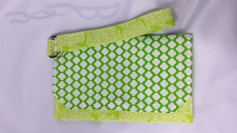 Crazy green wristlet. Clutch bag, Wristlet handbag, Cell phone purse, Wallet with strap, Handmade green pouch. No Capes Store