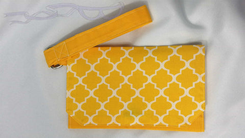 Yellow tiled wristlet. Pouch bag, Cell phone purse, Women's small wrist bag. Handmade yellow handbag.