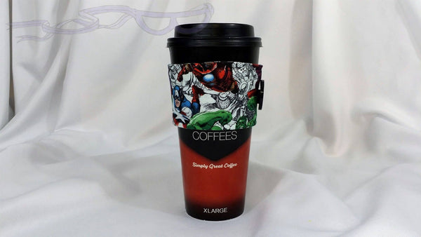 Hot Coffee Jacket made with Avengers Sketch fabric. Coffee Cozy, Coffee Sleeve, Reusable Coffee Jacket, Java Jacket, Coffee Lover Gift
