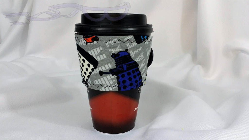 Hot Coffee sleeve made with Doctor Who Dalek fabric. Coffee Cozy, Coffee Sleeve, Reusable Coffee Jacket, Java Jacket, Coffee Lover Gift