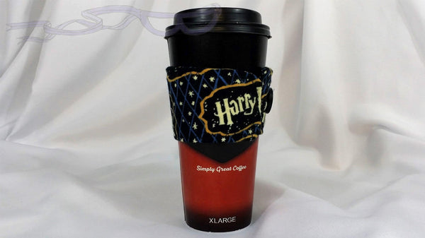 Hot Coffee Sleeve made with Harry Potter logo fabric. Hot Coffee Jacket, Coffee Cozy, Coffee Sleeve, Reusable Coffee Jacket, Java Jacket, Coffee Lover Gift