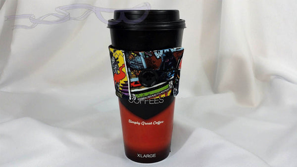 Hot Coffee Sleeve made with Star Wars comic book fabric. Hot Coffee Jacket, Coffee Cozy, Coffee Sleeve, Reusable Coffee Jacket, Java Jacket, Coffee Lover Gift