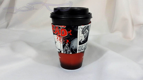 Hot Coffee Sleeve made with The Walking Dead fabric. Hot Coffee Jacket, Coffee Cozy, Coffee Sleeve, Reusable Coffee Jacket, Java Jacket, Coffee Lover Gift