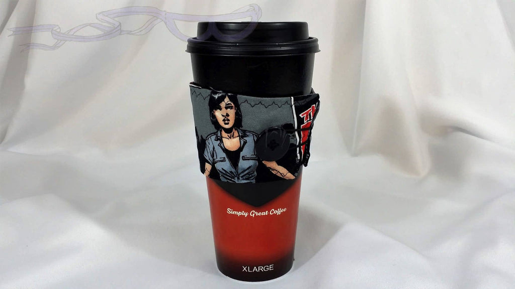 Hot Coffee Sleeve made with The Walking Dead Maggie comic book fabric. Hot Coffee Jacket, Coffee Cozy, Coffee Sleeve, Reusable Coffee Jacket, Java Jacket, Coffee Lover Gift