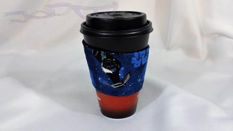 Hot Coffee Sleeve made with Star Wars Tie Fighter fabric. Hot Coffee Jacket, Coffee Cozy, Coffee Sleeve, Reusable Coffee Jacket, Java Jacket, Coffee Lover Gift