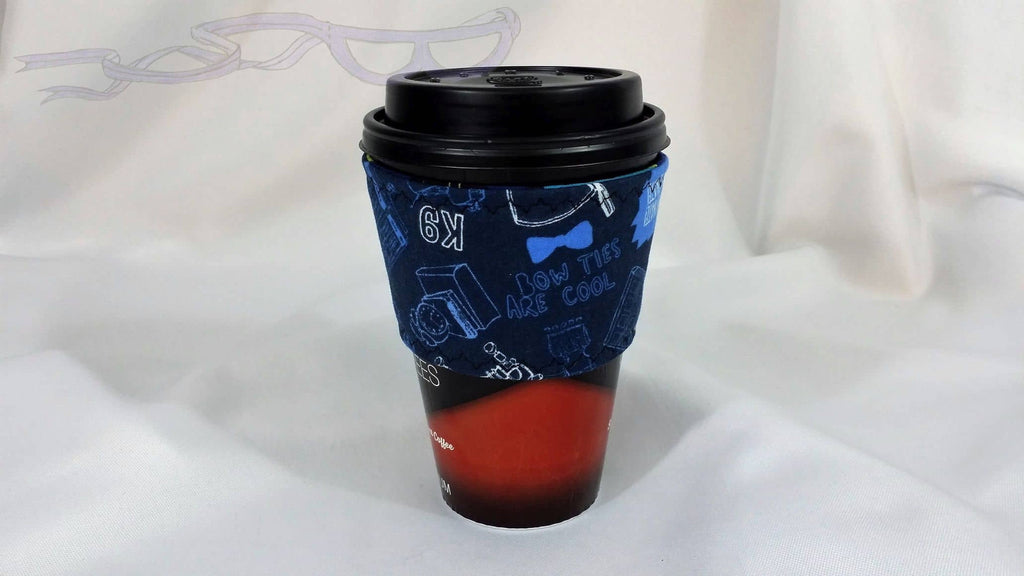 Hot Coffee sleeve made with Doctor Who blue fabric. Coffee Cozy, Coffee Sleeve, Reusable Coffee Jacket, Java Jacket, Coffee Lover Gift