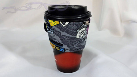Hot Coffee cozy made with Doctor Who Madman fabric.  Coffee Cozy, Coffee Sleeve, Reusable Coffee Jacket, Java Jacket, Coffee Lover Gift