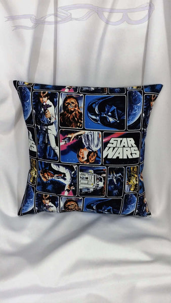 Star Wars fabric made into a cotton throw pillow cover for you.