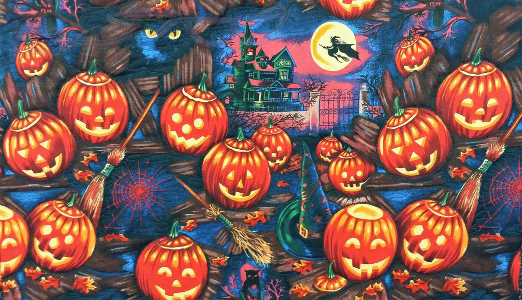 Halloween wall hanging with pumpkins, witches, and spider webs. Quilted seasonal decoration. Spooky table topper, Spoopy centerpiece. No Capes Store