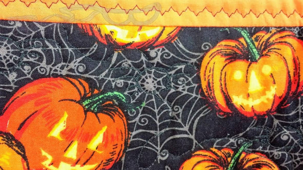 Halloween hanging, seasonal wall hanging, halloween wall decor, spooky wall decor, spooky door hanging, quilted Halloween decor, quilted hanging, Halloween wall art, Haunted house quilt, Halloween fabric art, Halloween centerpiece, halloween table topper, pumpkin patch, witches wall decor,