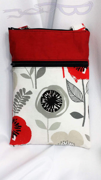 Red flowers cross body device carrier.