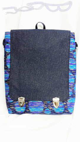 Blue Modern Sparkly Messenger Bag. Blue cross body bag.