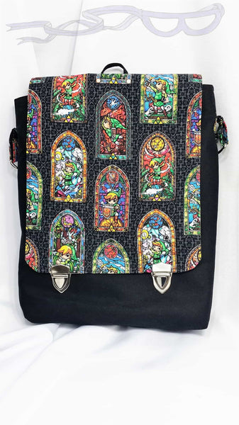 stained Glass Zelda fabric made into a messenger bag, convention gear