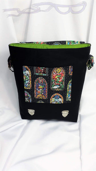 wind waker stained Glass fabric made into messenger bag