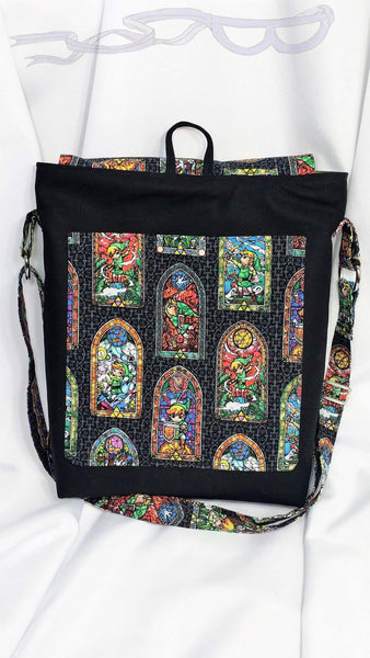 Convention messenger bag made from Zelda Stained Glass fabric