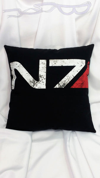 Mass Effect N7 black t-shirt made into a pillow cover.