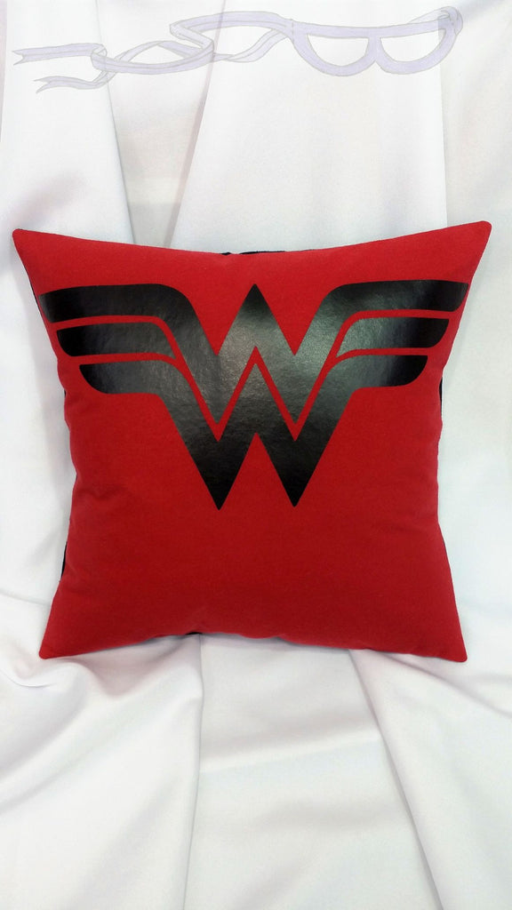 Wonder Woman Logo T-shirt made into a pillow cover. Superhero bedding made from a DC comics cotton tshirt with Wonder Woman symbol.