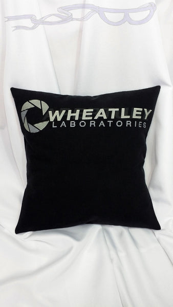 Wheatley Laboratories t-shirt made into a pillow cover.