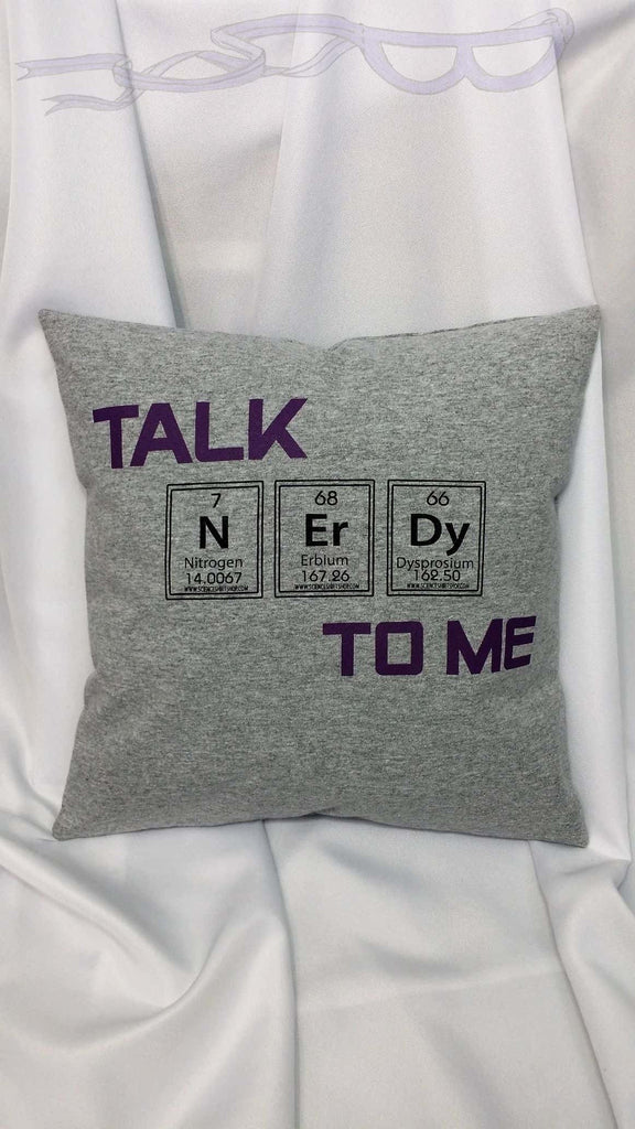 Talk Nerdy to Me pillow cover made from a cotton t-shirt. Nerd bedding made from a t shirt. Geeky decor. Geek gifts, nerd stuff, smart decor