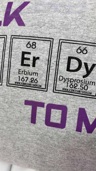 "It features the words ""Talk Nerdy to Me"" with nerdy in elemental boxes on a gray background"