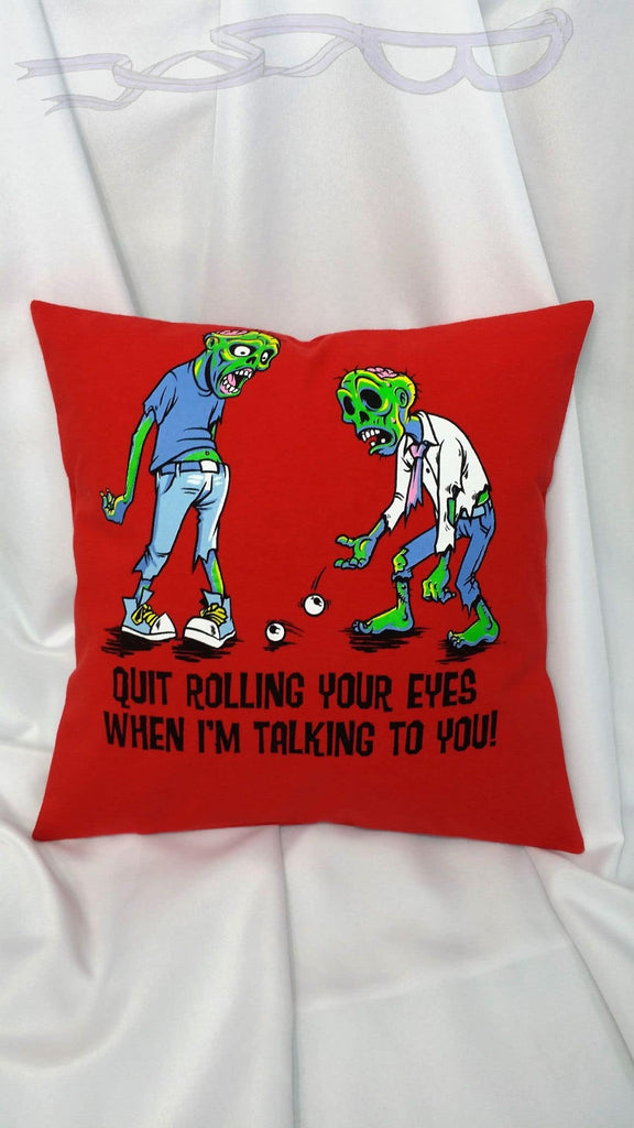 Zombie pillow cover. Sarcastic funny pillow featuring eye rolling zombies. Halloween pillow with decayed punny bodies. Funny undead pillow.