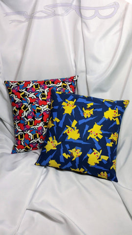 Pokemon Pikachu and Pokeballs fabric made into a pillow cover