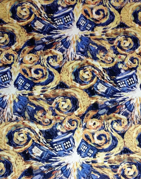 Doctor Who Tardis fabric made into an adjustable bag.