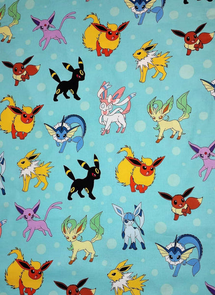 Eevee and the eeveelutions Vaporeon, Jolteon, Flareon, Espeon, Umbreon, Leafeon, Glaceon, and Sylveon.