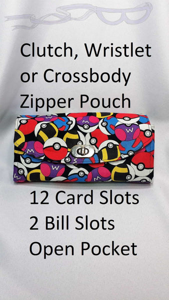 Pokemon fabric made into an adjustable purse. Necessary clutch bag handmade from Pokeballs fabric. Wristlet. Crossbody, Clutch, Pokemon ball