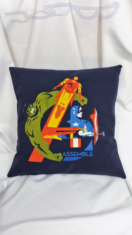 Avengers: Iron Man, Captain America, Hulk, and Thor tshirt made into comic decor. Superhero bedding made from Marvel Avengers Assemble shirt