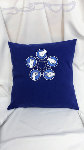Big Bang Theory blue Rock Paper Scissors Lizard Spock shirt made into an upcycled pillow cover. Adaptation of Sheldon Coopers alternate RPS
