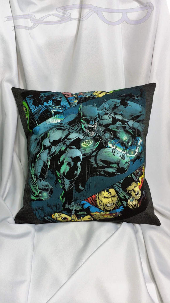 Batman Blackest Night  T-shirt made into a pillow cover. Comic book bedding made from DC shirt with Green Lantern Corp. Superhero decor