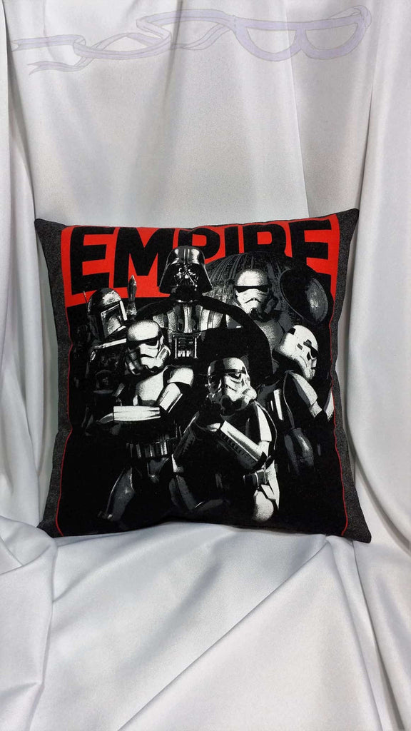 Galactic Empire Star Wars t shirt made into a pillow cover. Villain bedding