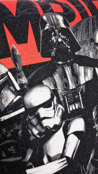 "It features Darth Vader with his storm trooper minions and trusted hunter Boba Fett over the word, ""Empire"" in negative space bright red, all on a black background."