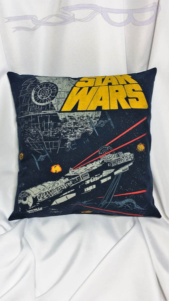 Star Wars space fighting vintage t shirt made into a decorative pillow cover.