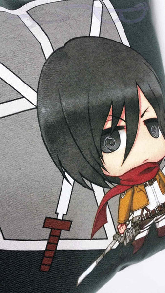 The graphic features a chibi Mikasa Ackerman in a battle stance with the Scouting Legion logo behind her on a dark gray background.