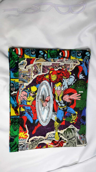 Marvel fabric made into a small blanket. Comic book bedding made with Marvel comics fabric feat. Wolverine, Capt. America, Hulk, Iron Man...
