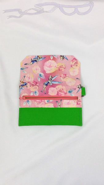 Tinkerbell fabric made into a wristlet